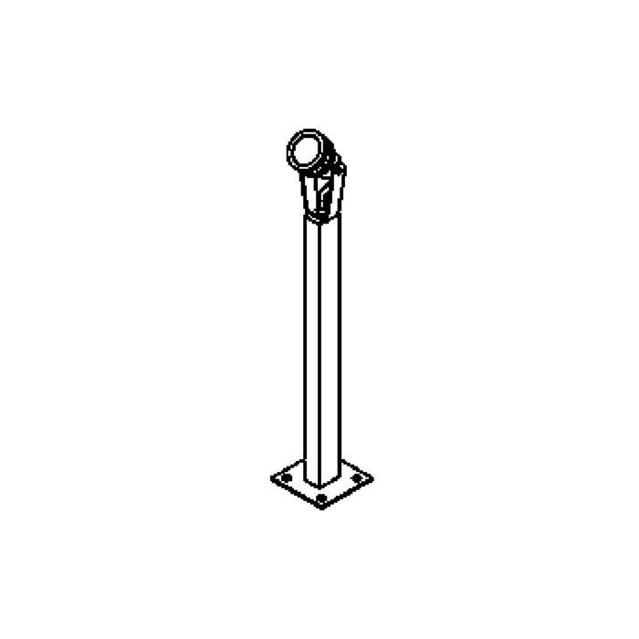 Drawing of T7011.650/.. - UFO LED, tuinpaal met grondplaat - op rechthoekige buis 40x30 - met glas