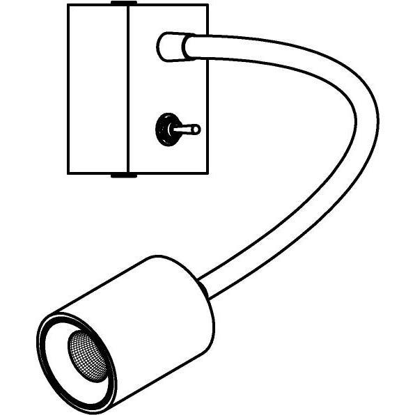 Drawing of 1466.300/.. - FLEX LITTLE JAMES, spot apparent avec tube flexible - orientable - avec interrupteur - sans driver LED