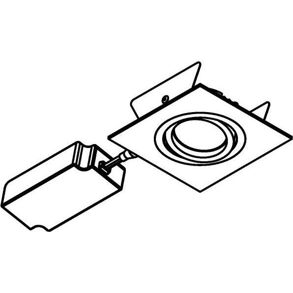Drawing of 444.10013/.. - NOVA FLAT LED + DRIVER, inbouwspot - vierkant - richtbaar - dimbaar - kit (driver + led + spot) - met LED driver