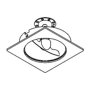Drawing of 90.CZL.ALTOAR70/.. - SCS SYSTEM, inbouwcassette - vierkant - vast