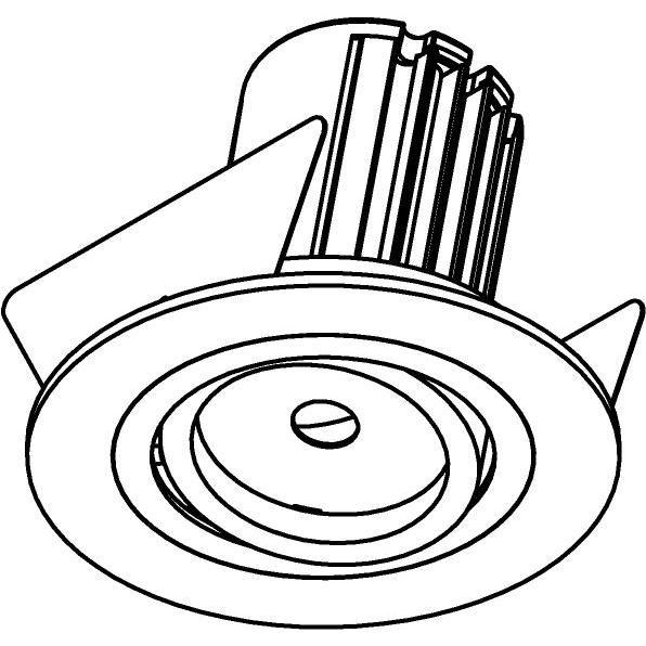 Drawing of AC.700.10011/.. - NORA AC, inbouwspot - rond - richtbaar - dimbaar fase aan & afsnijding - led 230V + lens