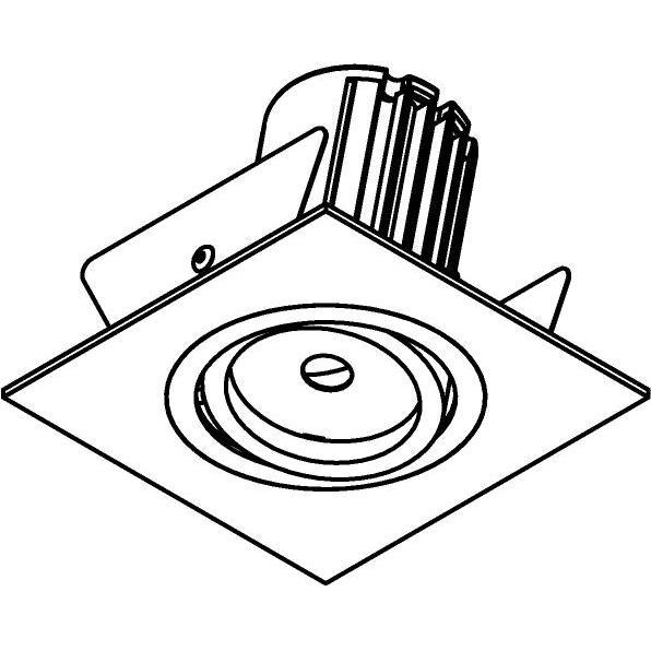 Drawing of AC.700.10013/.. - NORA AC, inbouwspot - vierkant - richtbaar - dimbaar fase aan & afsnijding - led 230V + lens