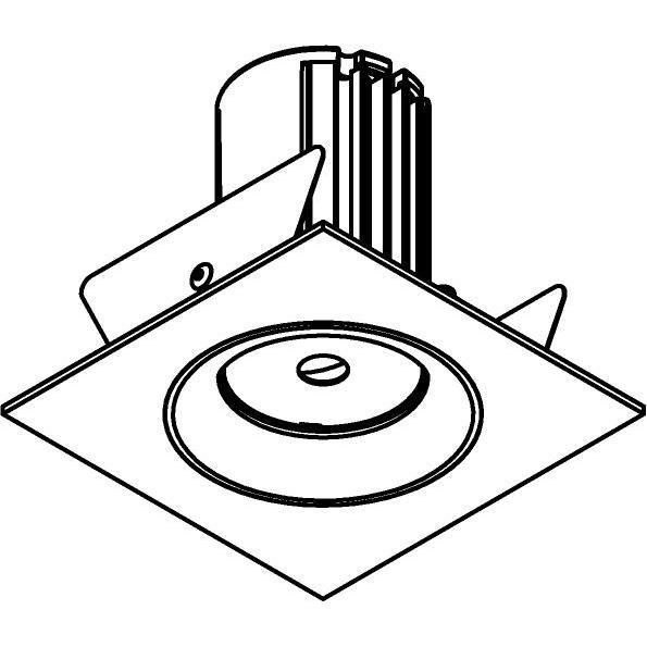 Drawing of AC.700.10015/.. - NORA AC, inbouwspot - vierkant - vast - dimbaar fase aan & afsnijding - led 230V + lens