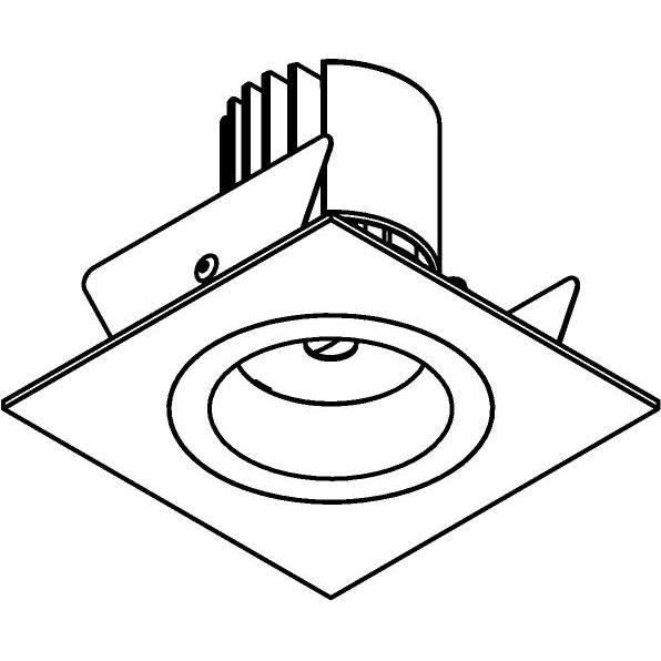 Drawing of DC.1200.10018/.. - NORA DC, inbouwspot - vierkant - vast - ledmodule - lens - zonder LED driver
