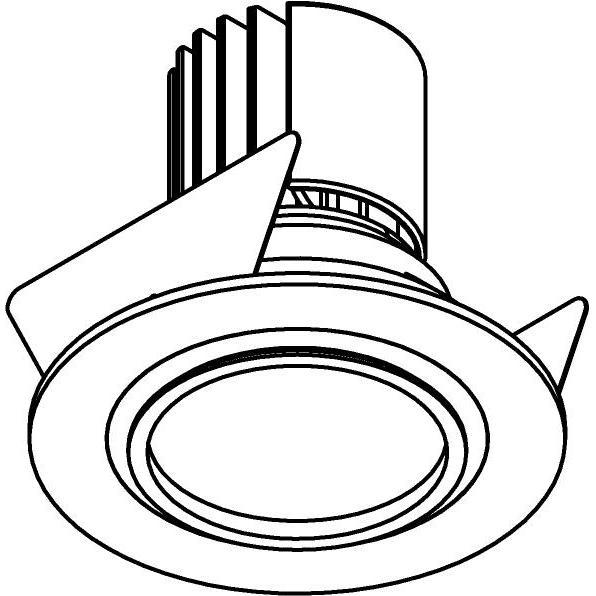 Drawing of DC.1200.10023/.. - NORA DC, inbouwspot - rond - vast - ledmodule - lens - zonder LED driver