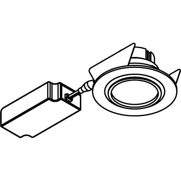 Drawing of 444.10023/.. - NOVA FLAT LED + DRIVER, inbouwspot - rond - vast - dimbaar - kit (driver + led + spot) - met LED driver
