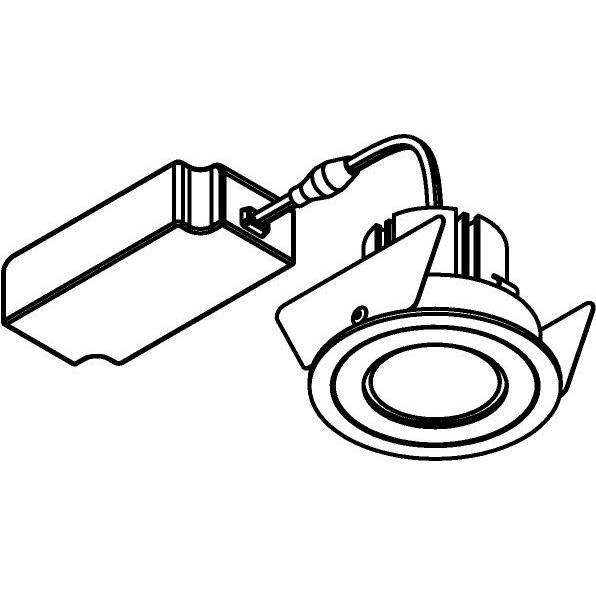 Drawing of 555.10024/.. - NOVA LED + DRIVER, inbouwspot - rond - vast - dimbaar - kit (driver + led + spot) - met LED driver