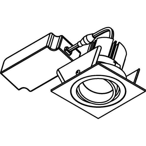 Drawing of 666.10027/.. - NOVA SOFT DIM + DRIVER, inbouwspot - vierkant - richtbaar - dimbaar fase afsnijding - kit (driver + led + spot) 1800K>2800K - met LED driver