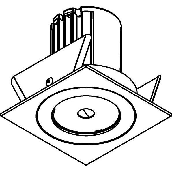 Drawing of AC.700.10025/.. - NORA AC, inbouwspot - vierkant - vast - dimbaar fase aan & afsnijding - led 230V + lens