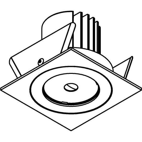 Drawing of DC.1200.10025/.. - NORA DC, inbouwspot - vierkant - vast - ledmodule - lens - zonder LED driver