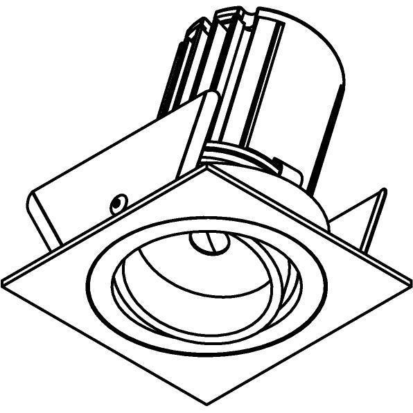 Drawing of AC.700.10027/.. - NORA AC, inbouwspot - vierkant - richtbaar - dimbaar fase aan & afsnijding - led 230V + lens
