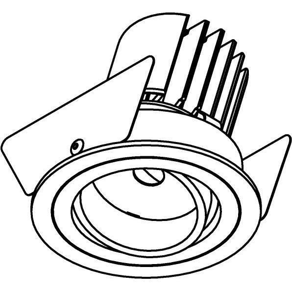 Drawing of DC.1200.10026/.. - NORA DC, inbouwspot - rond - richtbaar - ledmodule - lens - zonder LED driver