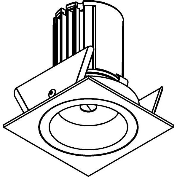 Drawing of AC.700.10029/.. - NORA AC, inbouwspot - vierkant - vast - dimbaar fase aan & afsnijding - led 230V + lens