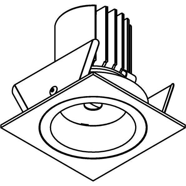 Drawing of DC.1200.10029/.. - NORA DC, inbouwspot - vierkant - vast - ledmodule - lens - zonder LED driver