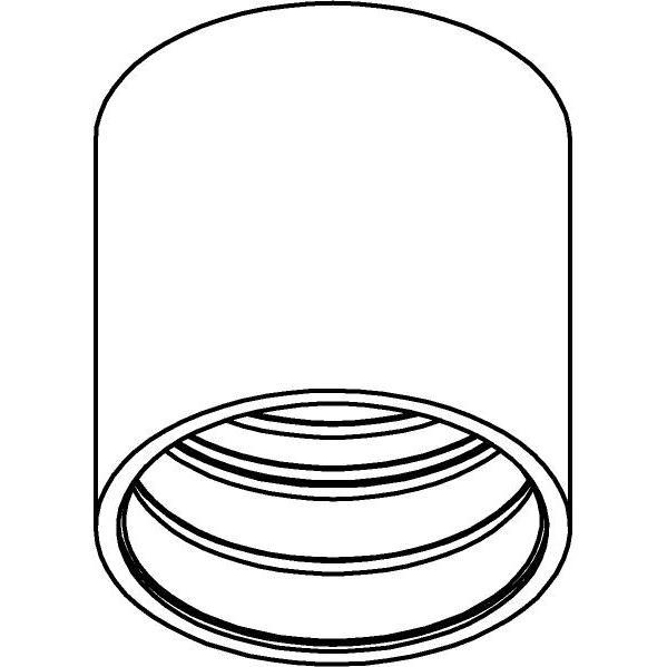 Drawing of E-TUBE.80/.. - Ø80-82 ECS - BUILT UP, plafondverlichting voor inbouwcassette ECS - rond - afzonderlijk te bestellen