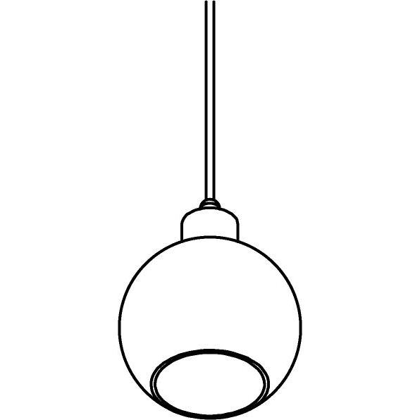 Drawing of 4995.A.E27.SH/.. - MOBY SH GOLD, hanglamp - met 2m textielkabel en trekontlasting aan fitting