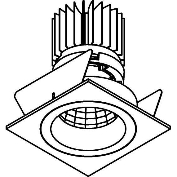 Drawing of XTM.1300.10029.S2/.. - LUXOR Ø70, inbouwspot - vierkant - vast - met led - zonder LED driver
