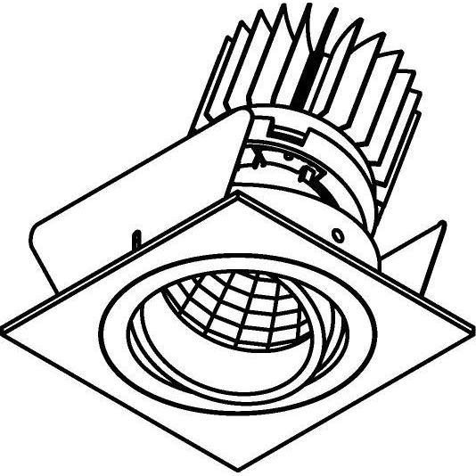 Drawing of XTM.1300.10027.S2/.. - LUXOR Ø70, inbouwspot - vierkant - richtbaar - met led - zonder LED driver