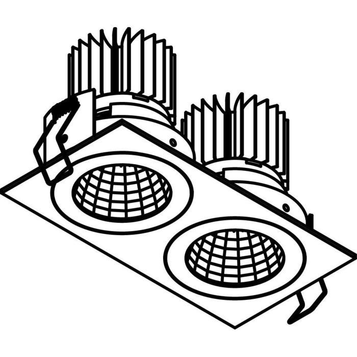 Drawing of XTM.1300.10033.S1/.. - LUXOR Ø70, inbouwspot - vierkant - vast - met led - zonder LED driver