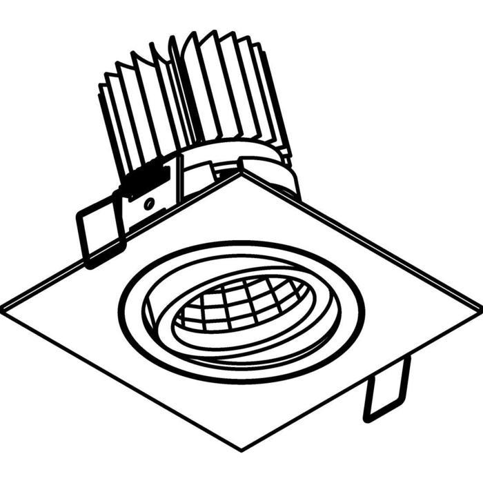 Drawing of XTM.1300.10013.S1/.. - LUXOR Ø80, inbouwspot - vierkant - richtbaar - met led - zonder LED driver