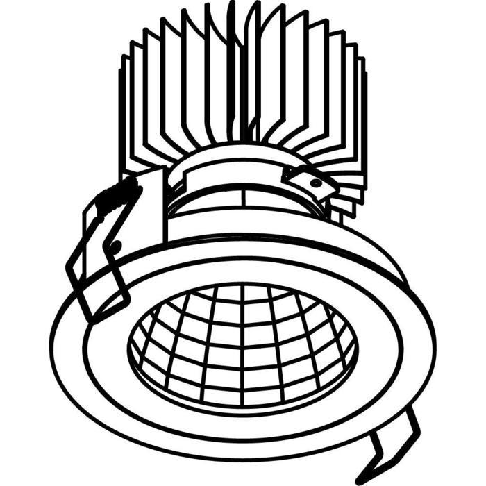 Drawing of XTM.1300.10019.S1/.. - LUXOR Ø100, inbouwspot - rond - vast - met led - zonder LED driver