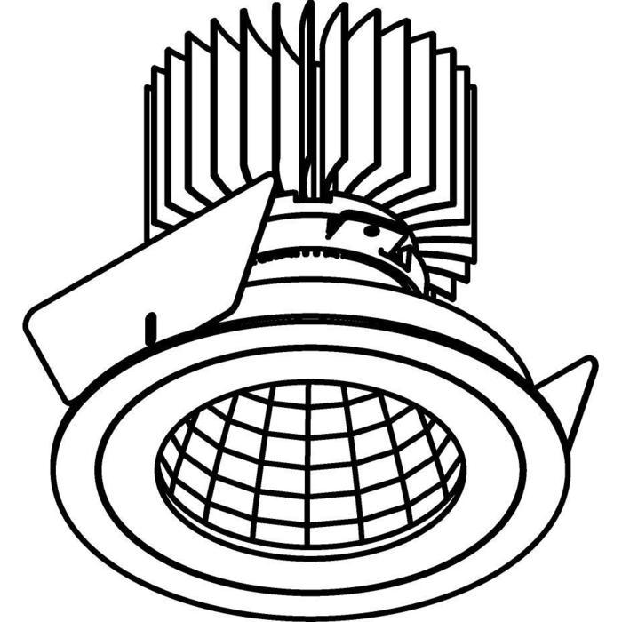 Drawing of XTM.1300.10019.S2/.. - LUXOR Ø100, inbouwspot - rond - vast - met led - zonder LED driver