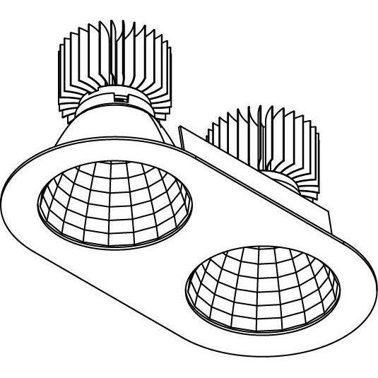 Drawing of XTM.1300.10055.S2/.. - LUXOR Ø2X130, inbouwspot - rond - vast - ovaal - met led - zonder LED driver