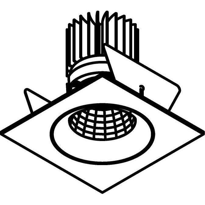 Drawing of XTM.1300.10015.S2/.. - LUXOR Ø80, inbouwspot - vierkant - vast - met led - zonder LED driver