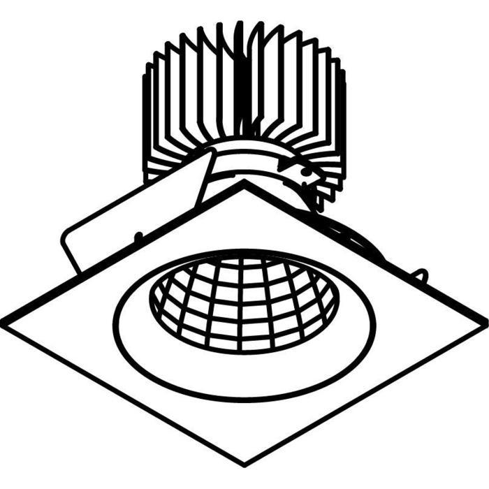 Drawing of XTM.1300.10054.S2/.. - LUXOR Ø80, inbouwspot - vierkant - vast - met led - zonder LED driver