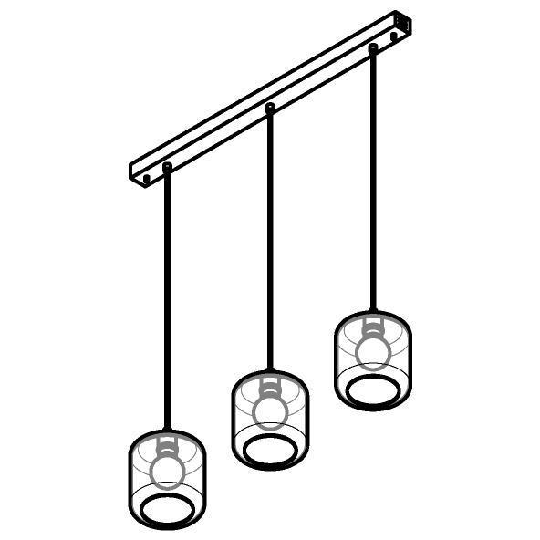 Drawing of 5130.3N/.. - MANON N COMBI, hanglamp - met 3x 1,5m textielkabel op basis Juba