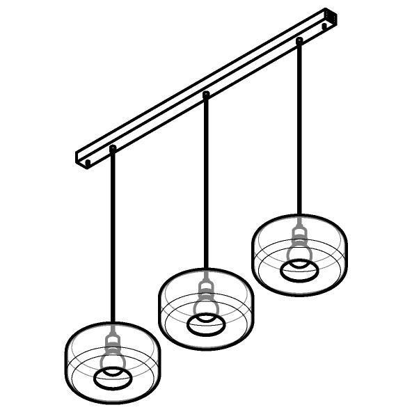 Drawing of 5131.3Q/.. - MANON Q COMBI, hanglamp - met 3x 1,5m textielkabel op basis Juba