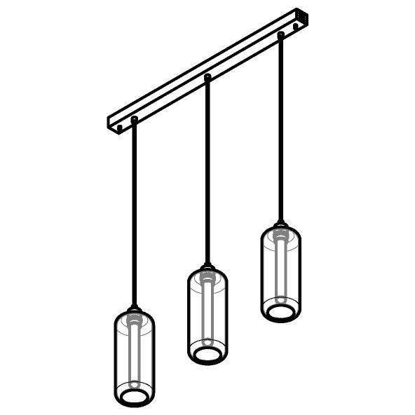 Drawing of 5132.3P/.. - MANON P COMBI, hanglamp - met 3x 1,5m textielkabel op basis Juba