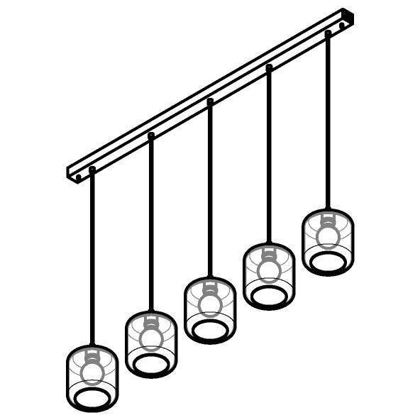 Drawing of 5130.5N/.. - MANON N COMBI, hanglamp - met 5x 1,5m textielkabel op basis Juba