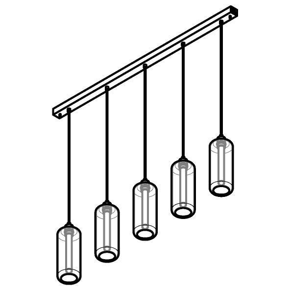 Drawing of 5132.5P/.. - MANON P COMBI, hanglamp - met 5x 1,5m textielkabel op basis Juba
