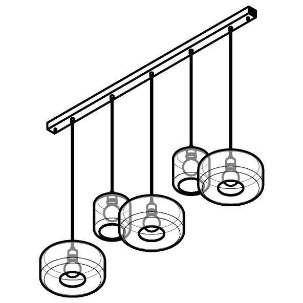 Drawing of 5134.2N3Q/.. - MANON NQ COMBI, hanglamp - met 5x 1,5m textielkabel op basis Juba