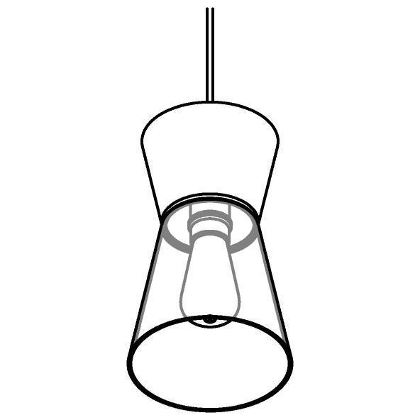 Drawing of 5555.E27/.. - SHAKE GLASS, hanglamp - down - met 1,5m kabel - met glas