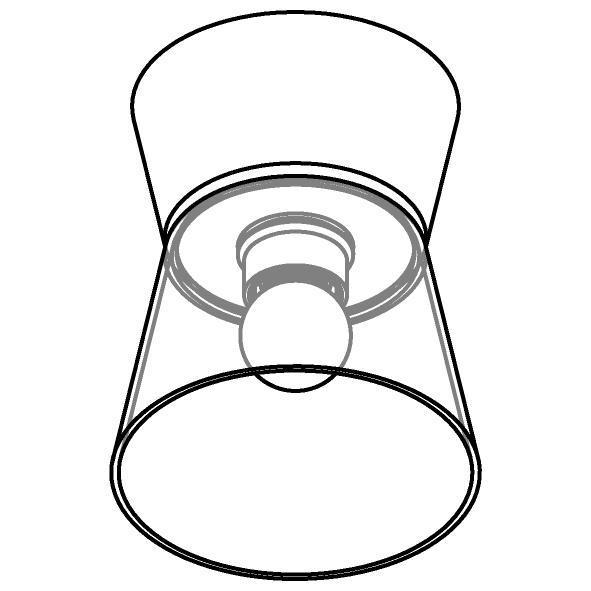 Drawing of 5558.E27/.. - SHAKE GLASS, opbouw plafondverlichting - vast - down - met glas