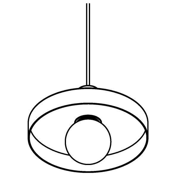 Drawing of 4991.E27/.. - SKIVVE, hanglamp - rond - met 1,5m textielkabel en trekontlasting aan fitting