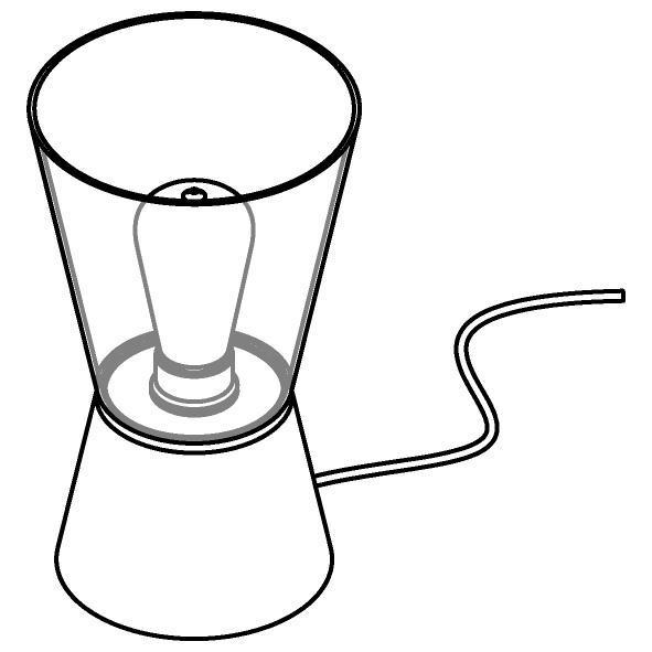 Drawing of 5561.E27/.. - SHAKE GLASS, tafellamp - vast - met snoer en stekker