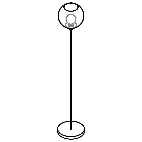 Drawing of 1536.C.E27/.. - MOBY Ø250, staanlamp - vast - met schakelaar + snoer