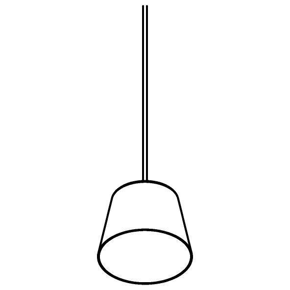Drawing of 5567.LED/.. - SHAKE LED, hanglamp - down - met 1,5m textielkabel en trekontlasting aan fitting