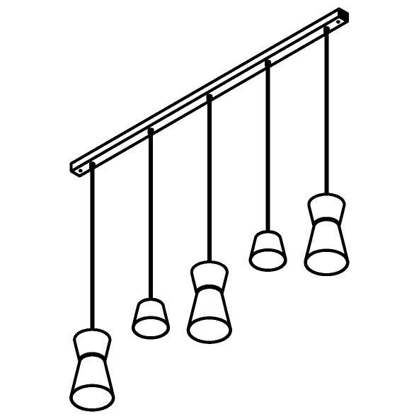 Drawing of 5574.LED/.. - SHAKE 5 LED, hanglamp - down - met 5x 1,5m textielkabel op basis Juba