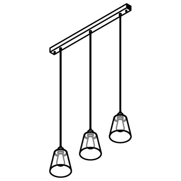 Drawing of 5577.E27/.. - SHAKE 3 GLASS, hanglamp - down - met 3x 1,5m textielkabel op basis Juba