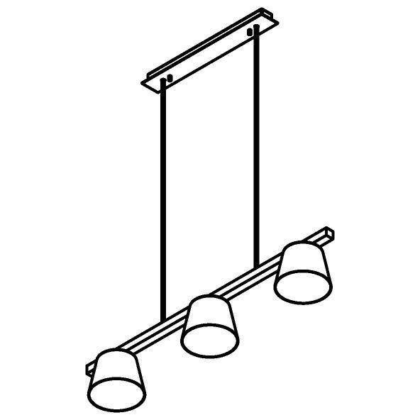 Drawing of 5580.LED/.. - SHAKE 3 METAL, hanglamp met bolgewricht - stang inkortbaar - down