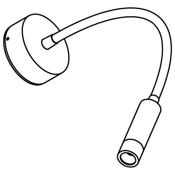 Drawing of 1848/.. - LIPSTICK, opbouwspot met flexibele arm - richtbaar - zonder schakelaar - zonder LED driver