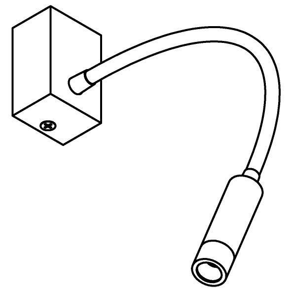 Drawing of 1895/.. - LIPSTICK, opbouwspot met flexibele arm - richtbaar - zonder schakelaar - zonder LED driver
