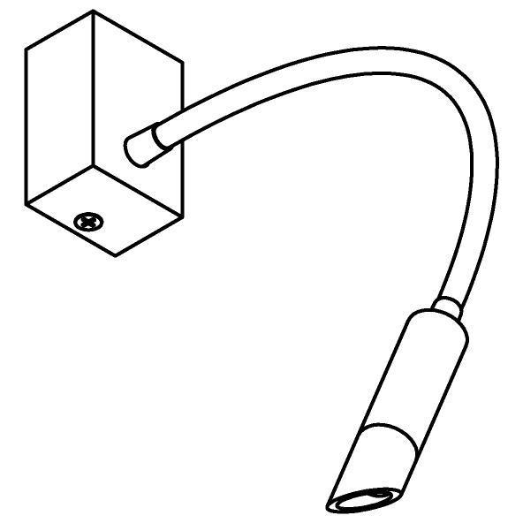 Drawing of 1896/.. - LIPSTICK by SUMUM, opbouwspot met flexibele arm - richtbaar - zonder schakelaar - zonder LED driver