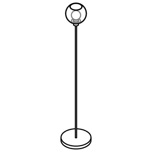 Drawing of 1538.B.E27/.. - MOBY SH Ø180, staanlamp - vast - met schakelaar + snoer