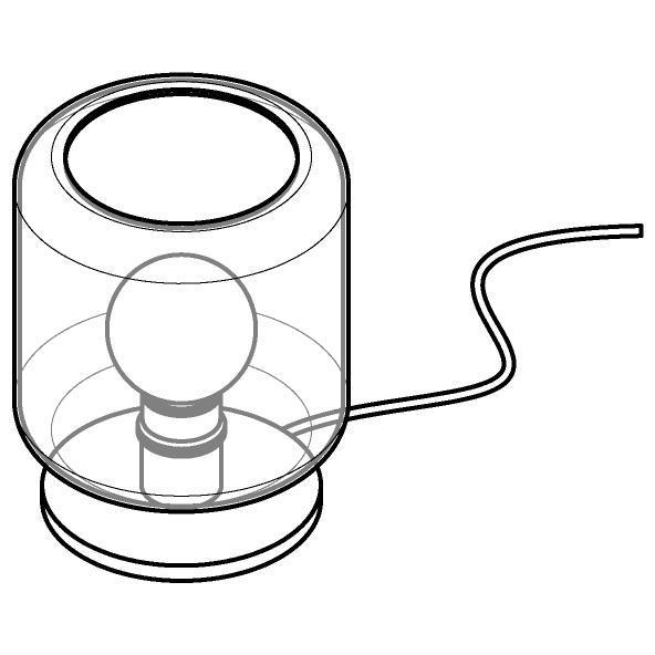 Drawing of 1557.N.E27/.. - MANON, tafellamp - vast - met snoer en stekker