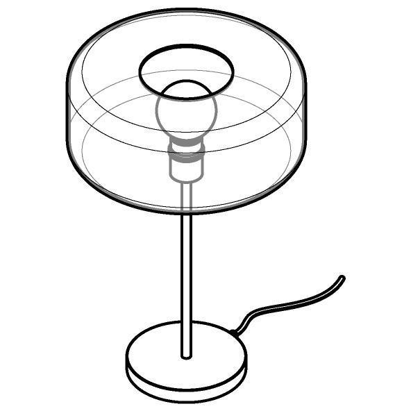 Drawing of 1564.Q.E27/.. - MANON, tafellamp - vast - met snoer en stekker